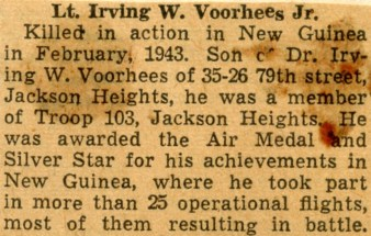 Clipping on Irving W Voorhees Jr