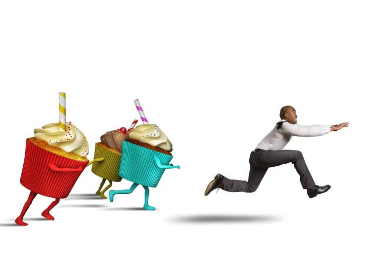 Running from cupcakes 123rf