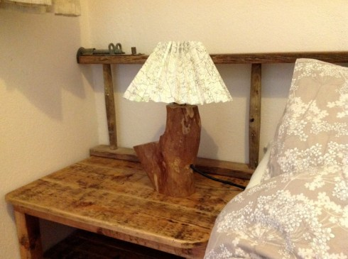 Bedside lights from hedgerow logs and OS maps