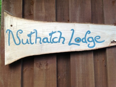 Nuthatch eco lodge, Wheatland Farm sign