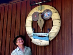 Sawl Bellows on the side of Beech Eco Lodge at Wheatland Farm