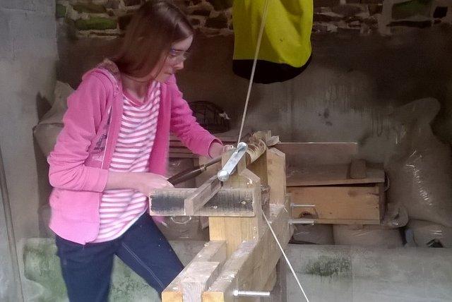 Using the pole lathe at Wheatland farrm