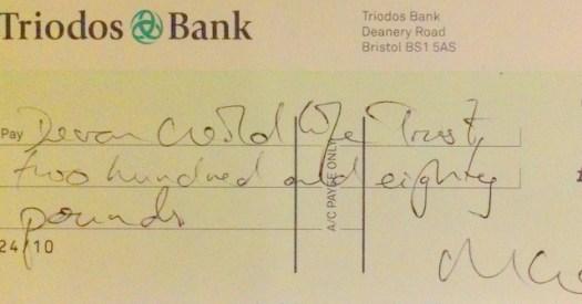 Cheque for the Devon Wildife Trust