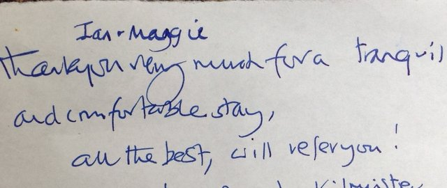 Comment from guests at Otter Cottage, May 2016