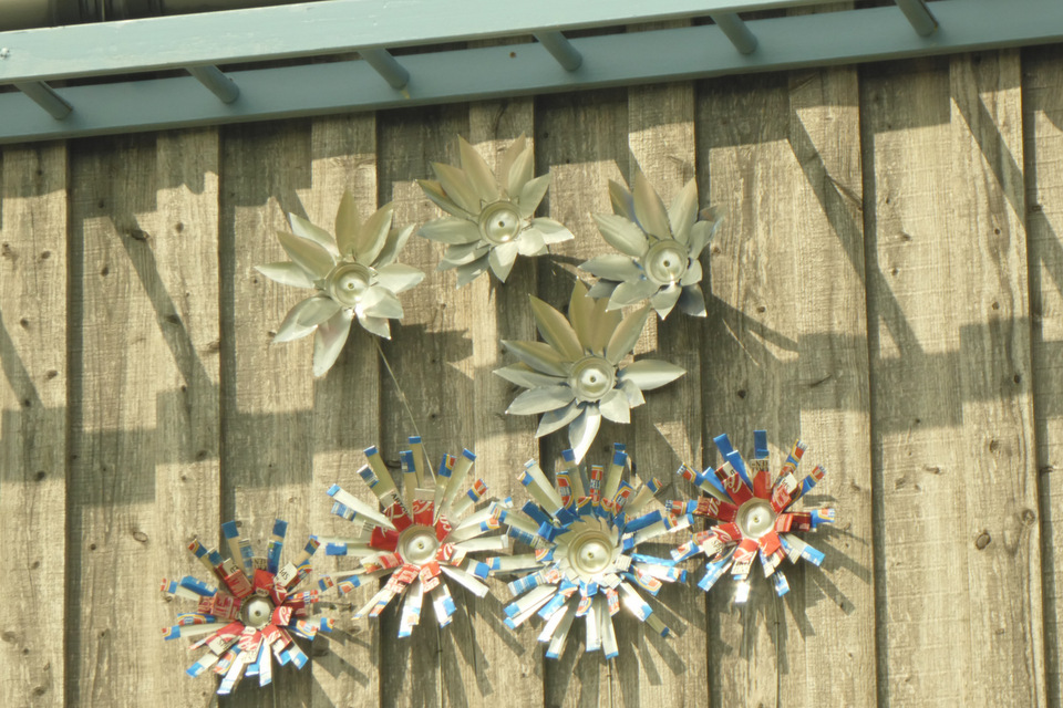 Flowers made from recycled cans, Wheatland Farm