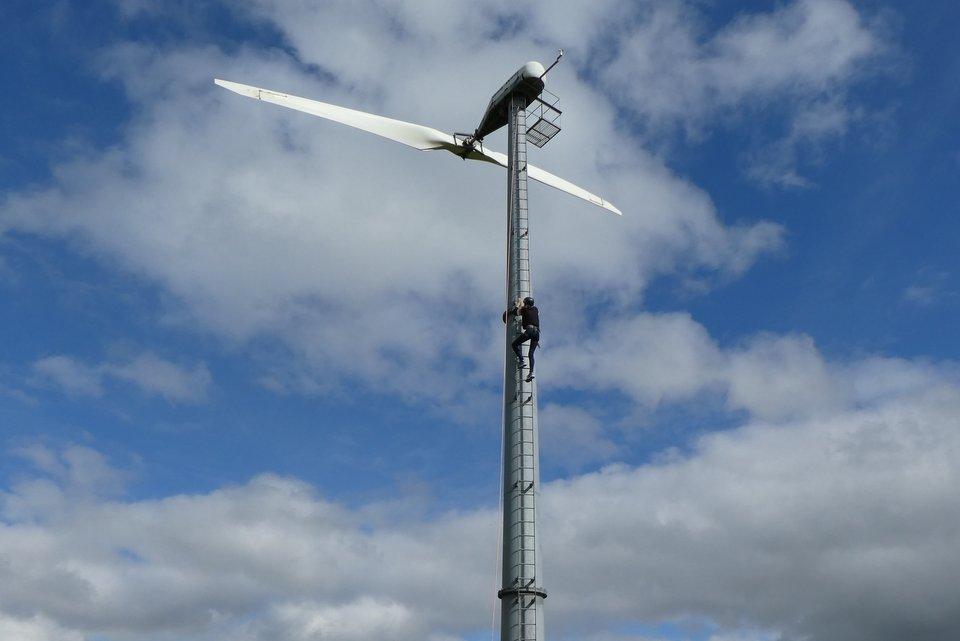 Shows the wind turbine at Wheatland Farm's Devon Eco Lodges