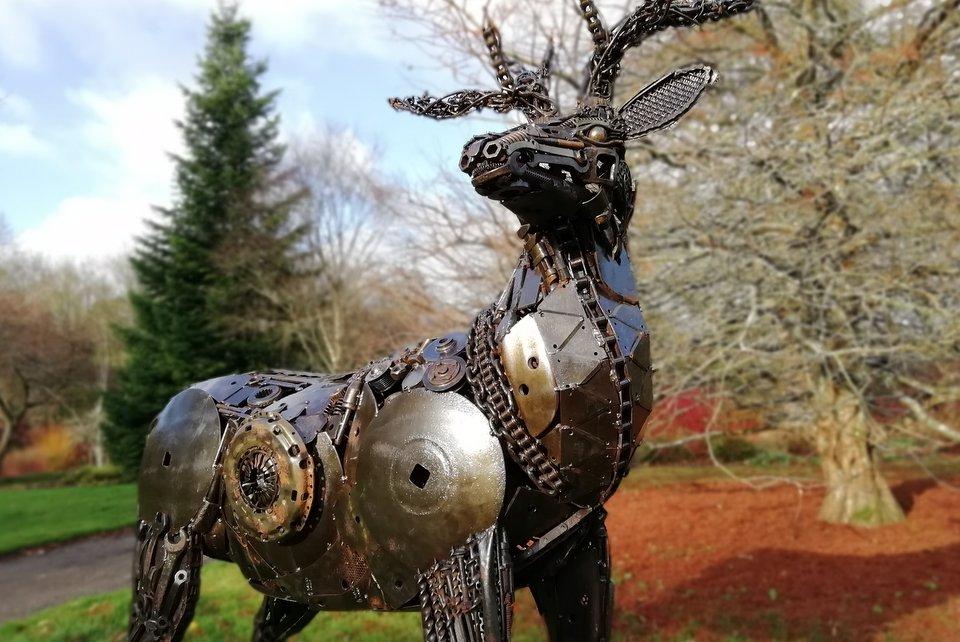Stag sculpture at RHS Rosemoor