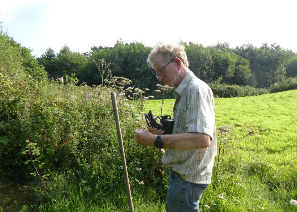 Ian is putting up a bat detector near Wheatland Farm's wildlife pond