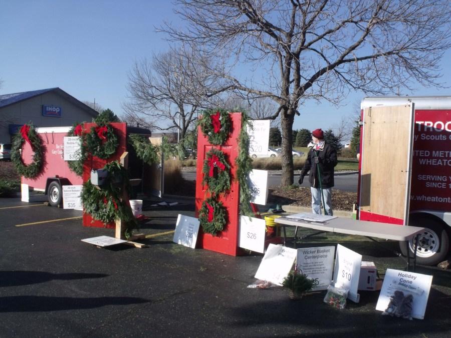Troop sells wreaths to walkup customers as well as door to door!