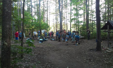 Taking down the flag at camp