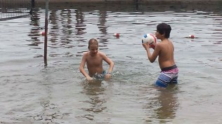 Playing some water volleyball