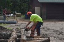 Getting the 8 foot logs into 16 inch logs