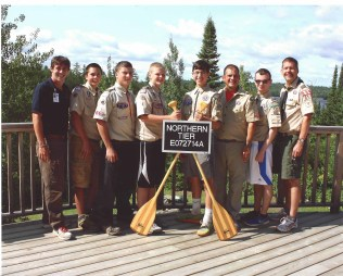 Northern Tier interpreter Chris, Brandon B., William W., Adam L., Sebastian D., Dave D., Aaron K., and Andy L.