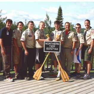 Northern Tier interpreter Chris, Brandon B., William W., Adam L., Sebastian D., Dave D., Aaron K., and Andy L.