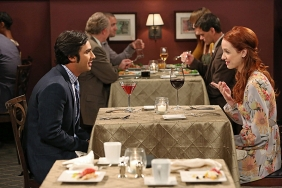 "Raj (Kunal Nayyar) and Emily (Laura Spencer). The Big Bang Theory ""The Indecision Amalgamation"" Season 7 Episode 19 Photo credit: Michael Yarish/ Warner Bros. Entertainment, Inc."