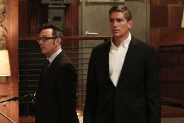 """Shotseeker"" -- Reese protects an NYPD analyst whose investigation into a software glitch has drawn the attention of Samaritan. Also, Reese and Fusco are threatened by an ally of Elias, who is looking for revenge for his friend's death, on PERSON OF INTEREST, Tuesday, May 17 (10:00 -- 11:00 PM ET/PT) on the CBS Television Network. Pictured L-R: Michael Emerson as Harold Finch and Jim Caviezel as John Reese Photo: Giovanni Rufino/Warner Bros. Entertainment Inc. ©2015 WBEI. All rights reserved."