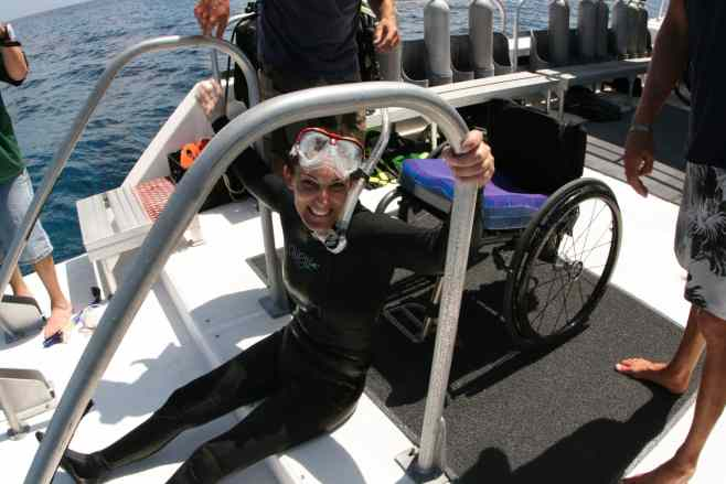 Female diver on deck