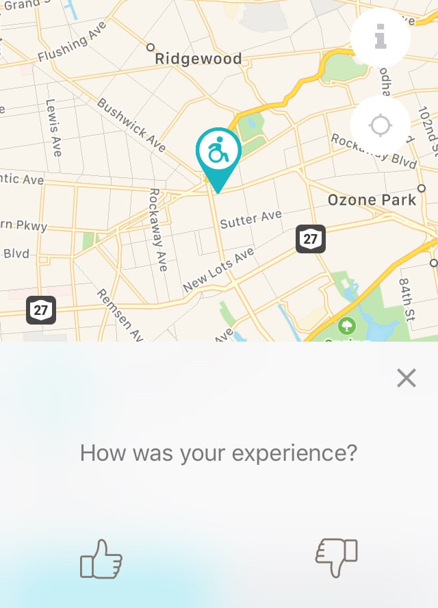 screenshot of WheelMate app showing thumbs up or thumbs down to rate a location
