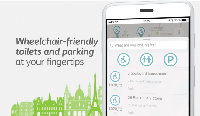 "Smartphone with WheelMate app and caption reading, ""Wheelchair-friendly toilets and parking at your fingertips."""