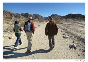 Alex, Ellen and Paul walk the trail in Tumco