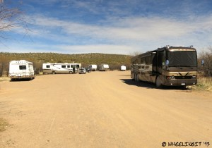 """View into Ringtail Loop. RV in """"site"""" 22 on right."""