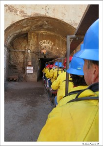 Riding the cart into Queen Mine