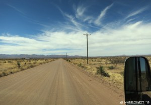 Driving down Coffman Road towards the draw. Very large, flat dirt road.