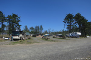 View from trail to beach. We're on left in #7. RV on right is in #3