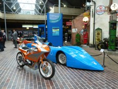 Further 'alternative' record breakers on show include this electric drag bike and Bluebird Electric. (Photo courtesy National Motor Museum).
