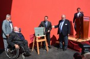 The Hon. Ed Vaizey MP was Guest of Honour at the opening of the new Museum at Sparkford, and is seen here unveiling the plaque to celebrate this event. Shown too is Chris Haynes (right), Mike Penn and Marc Haynes (left).