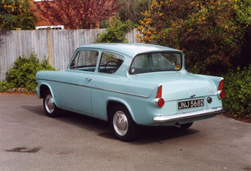 A trademark feature of the Anglia saloon was its 'reverse rake' rear window. The car also incorporated pointed rear fins, so typical of late 1950s vehicles.