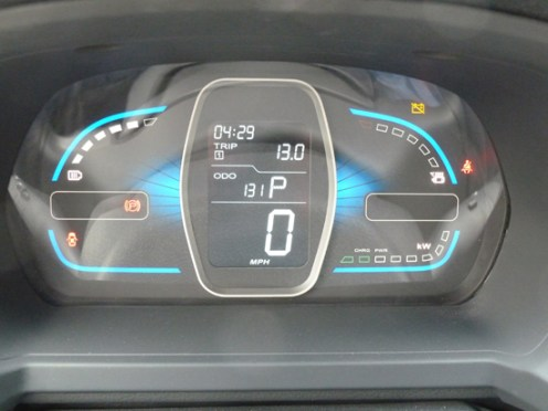 The instrument panel is easy to assimilate and informs the driver of whether the car is using power or is in 'regeneration' mode.