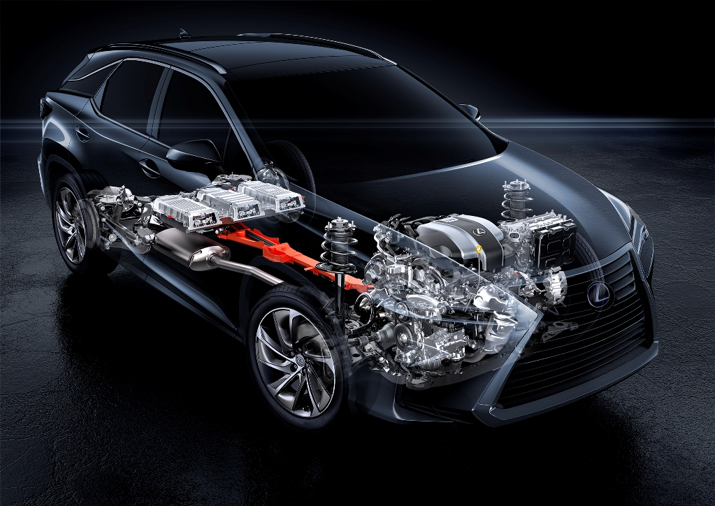 Lexus RX 450h engine and twin electric motors drivetrain