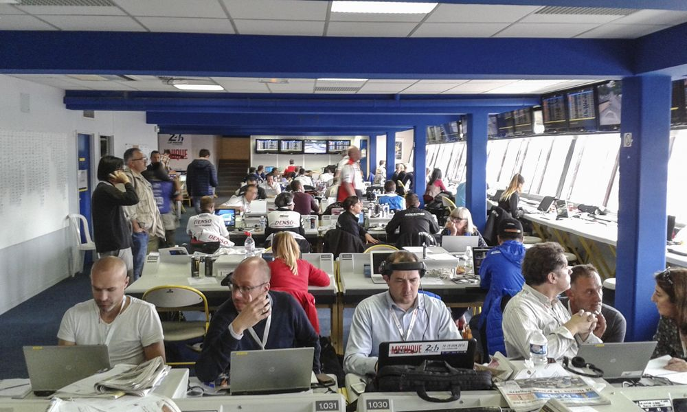 Media centre which caters for around 700 journalists/photographers on race weekend.