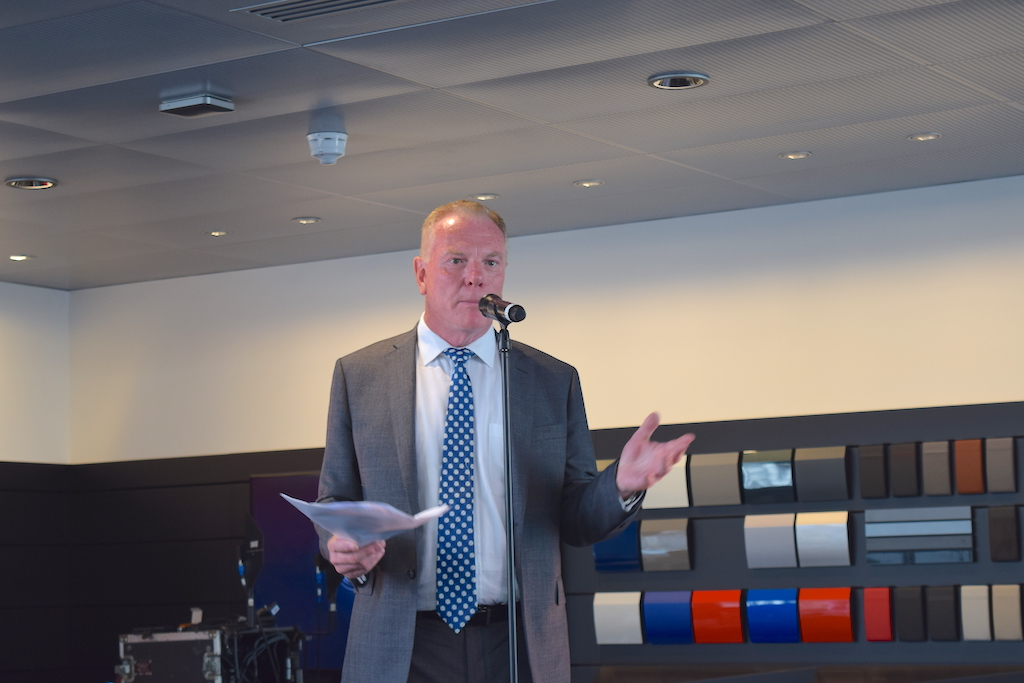 David Kelly, Managing Director, welcomes guests to the press launch of the new Poole Audi Centre.