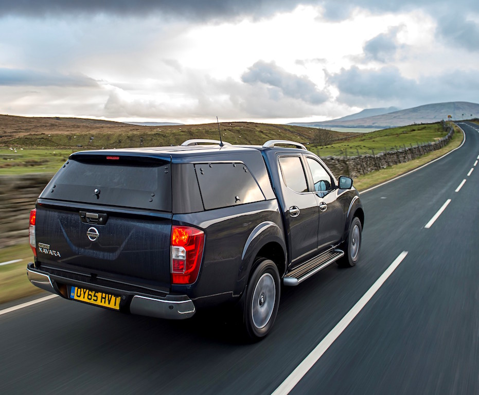 Nissan Navara Double Cab fitted with load area canopy, rear action copy