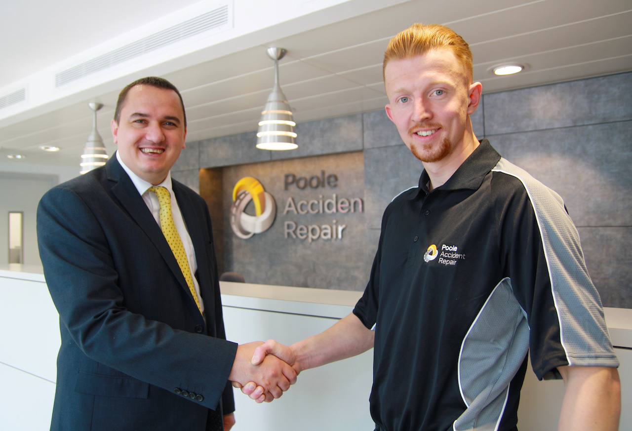 Sam O'Shea, right, with Chris Jesson, VW Group's Paint and Body Performance Manager.
