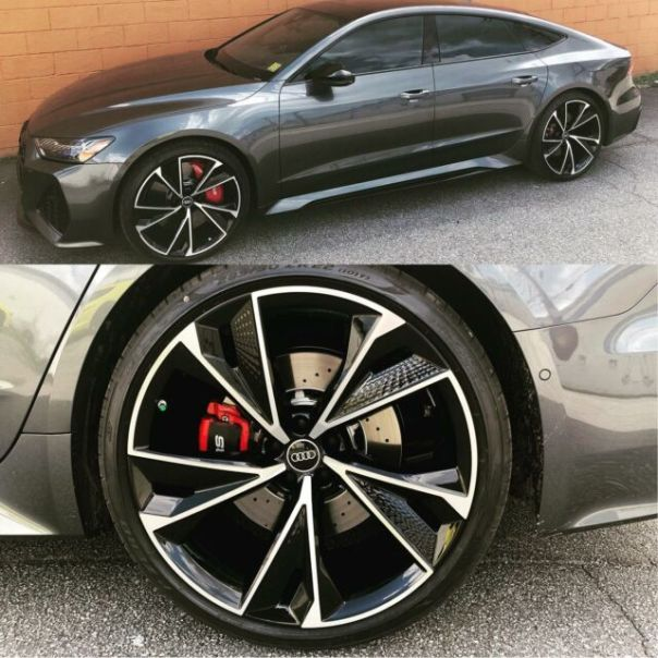 Gloss black and machined wheels by @wheelwizardatl for this Audi RS7