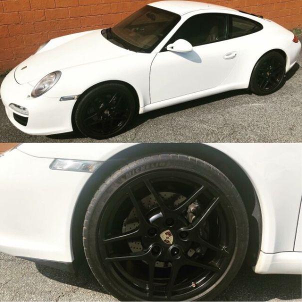 Satin black wheels done by @wheelwizardatl on this Porsche 911
