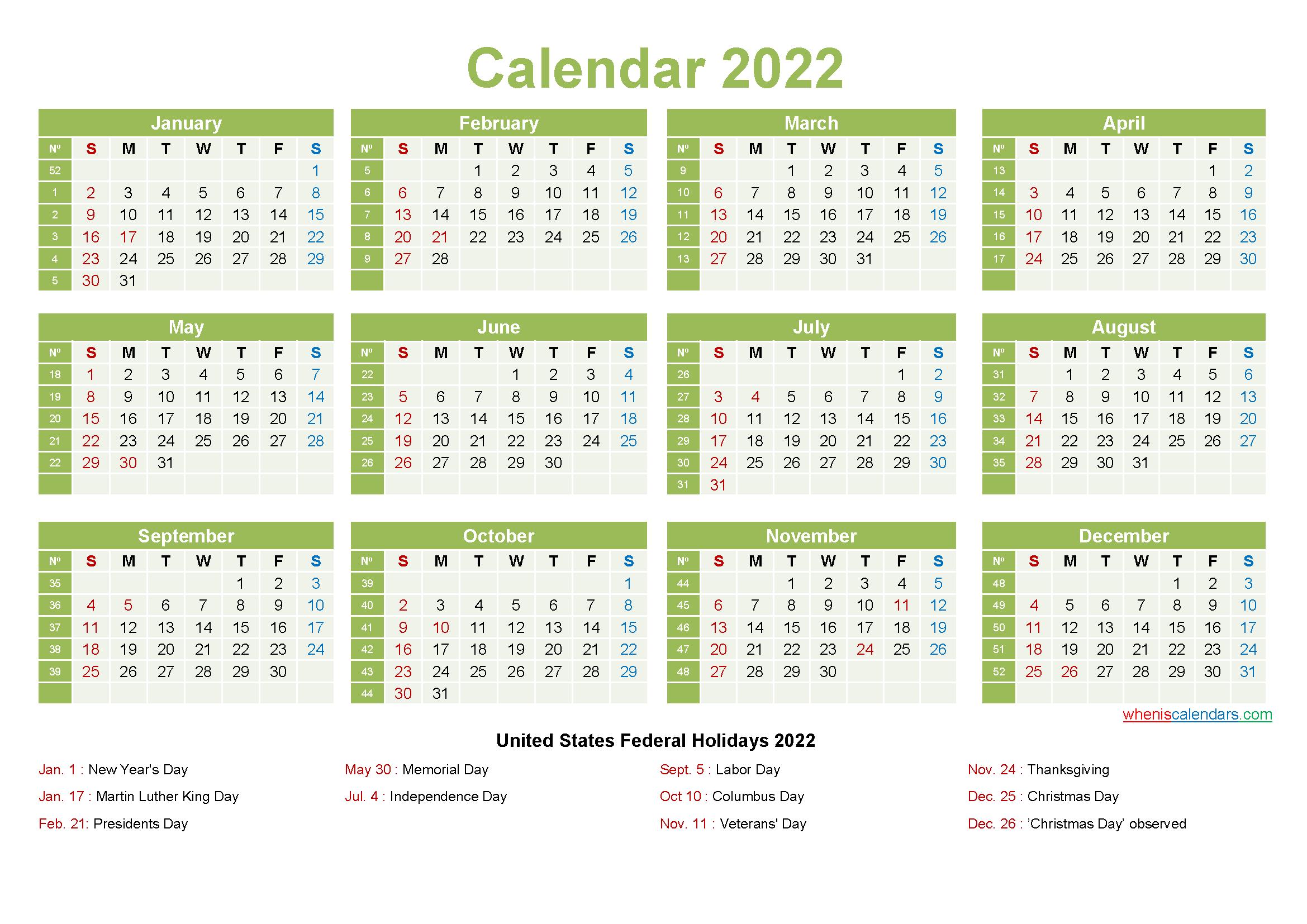 Free june 2022 calendar with holidays printable pdf and image. Printable Yearly 2022 Calendar with Holidays Word, PDF ...