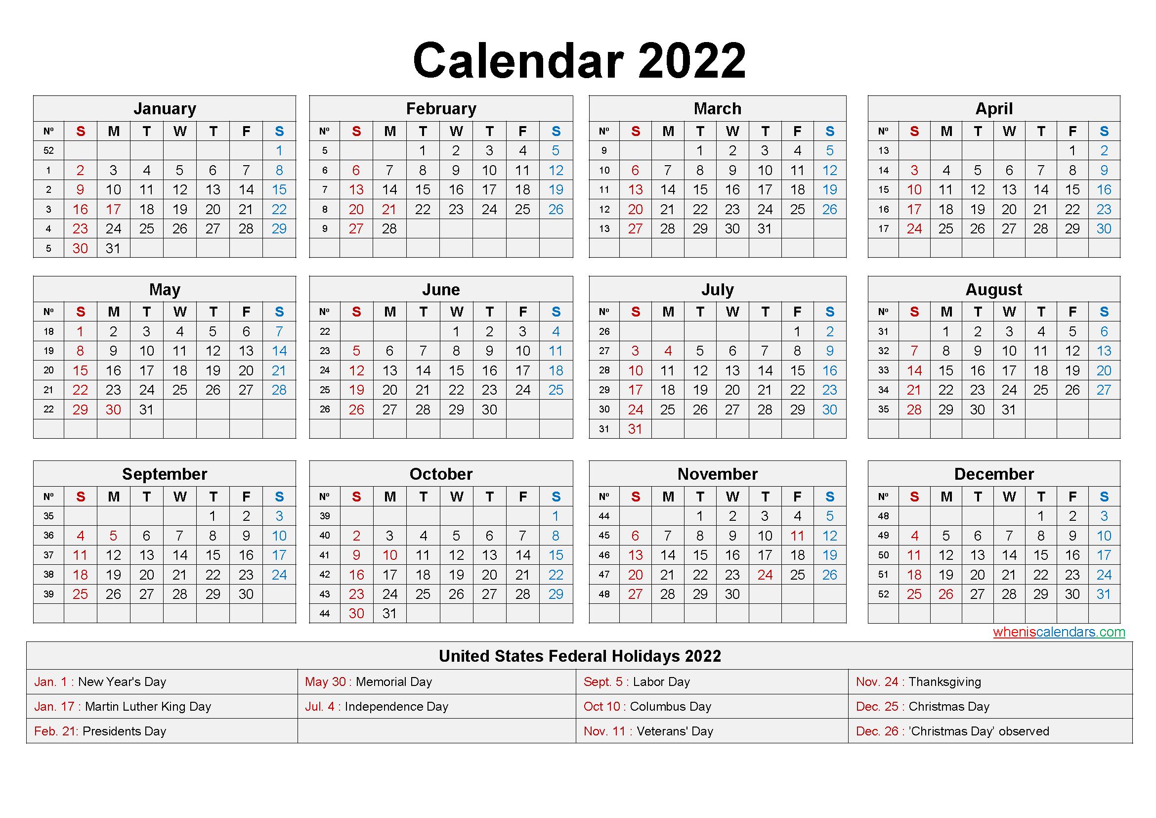 monthly calendar 2022, printable calendar 2022 paper orientation: Large Desk Calendar 2022 with Holidays - Free Printable ...