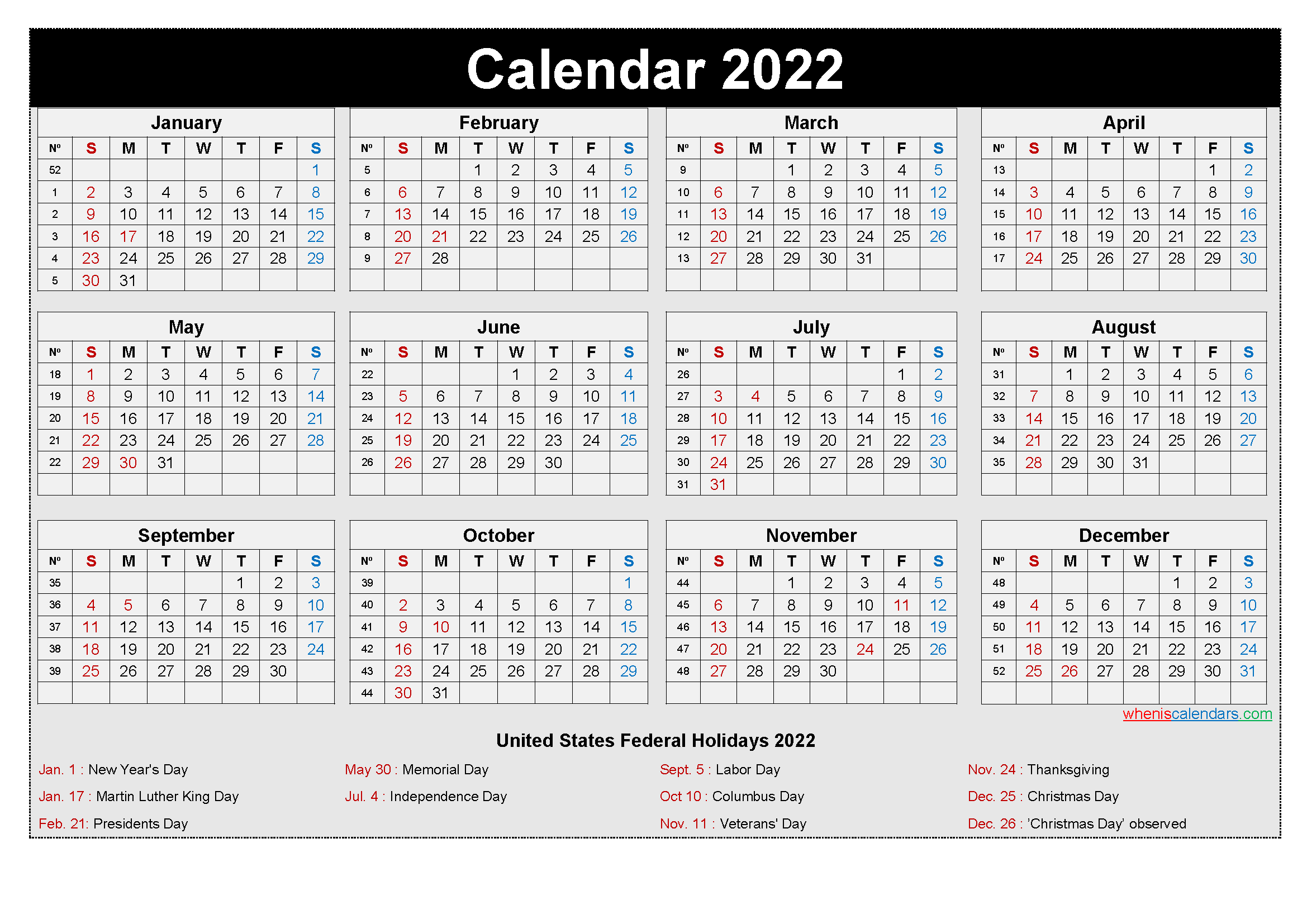 2022 yearly calendar one page with 12 months view to edit and use daily. Free Printable Yearly 2022 Calendar with Holidays as Word ...