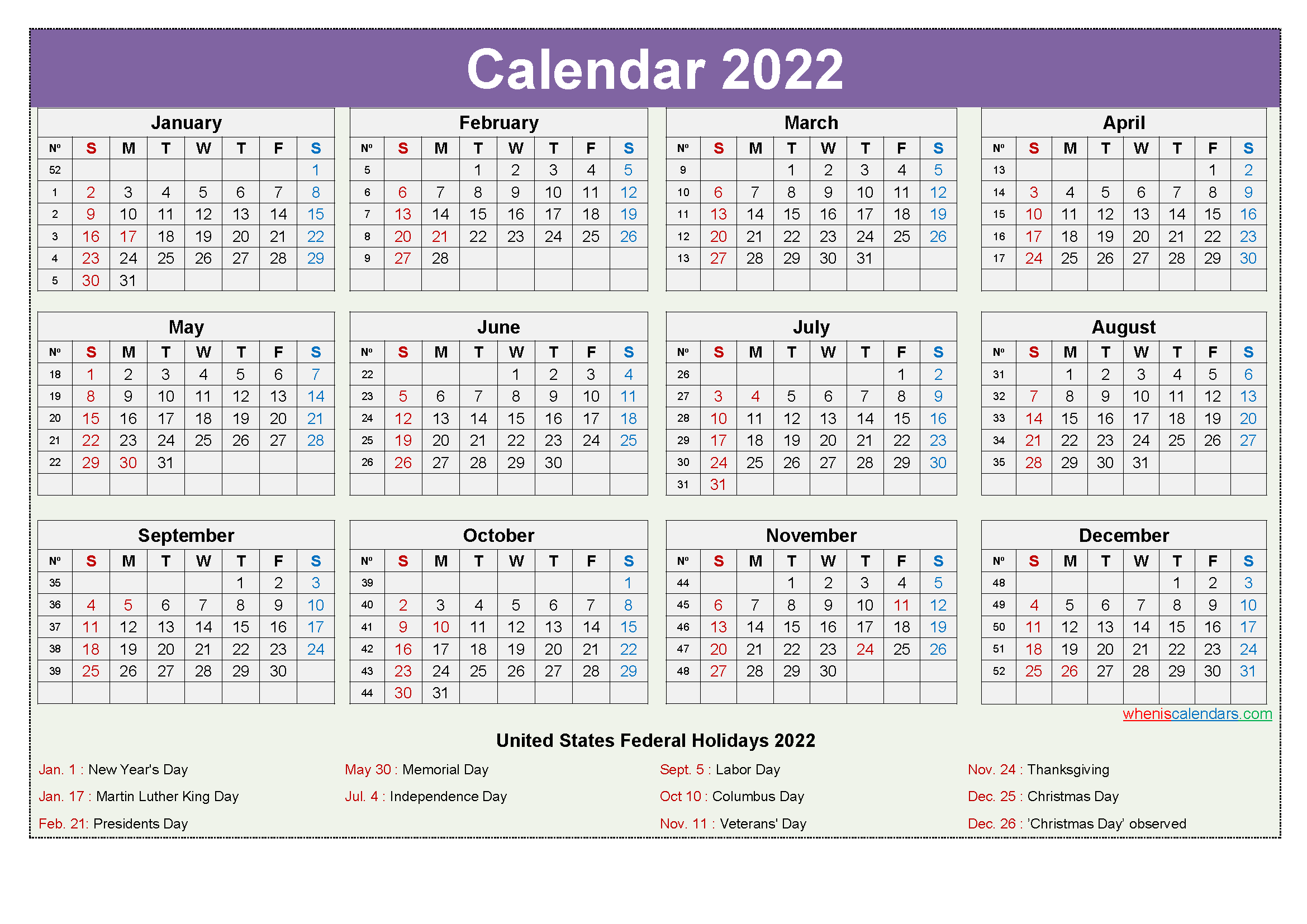 Sure, digital calendars are convenient — we can take them everyw. Printable Yearly 2022 Calendar with Holidays Word, PDF