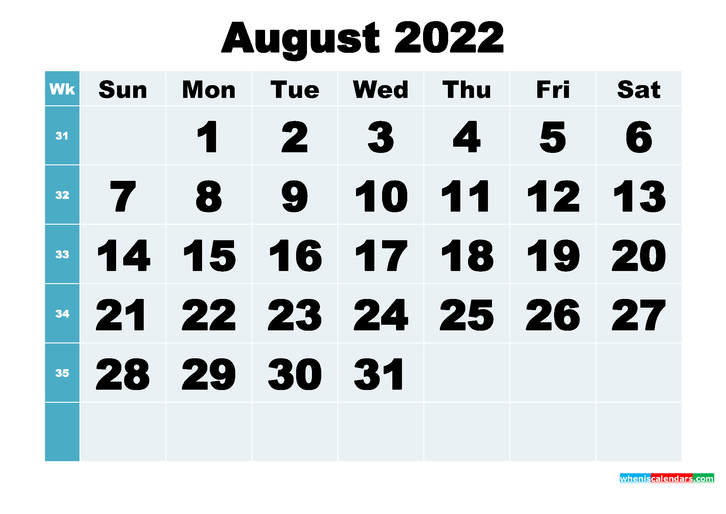 You can budget both your money and your time by making a. Free Printable August 2022 Calendar Word, PDF, Image ...