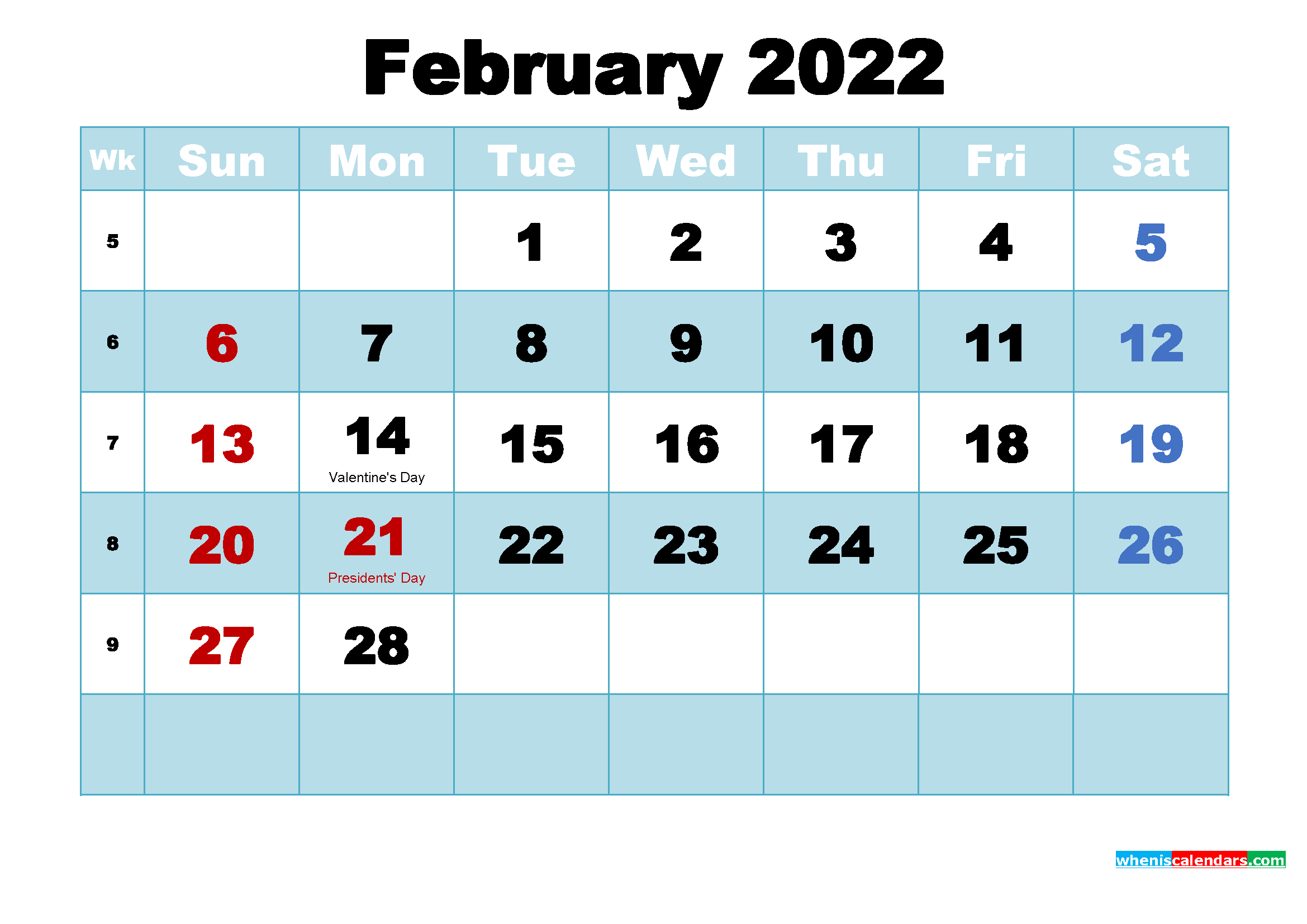 Remembering to pay your bills each month isn't always easy, especially when your bills are d. Free Printable February 2022 Calendar with Holidays as ...