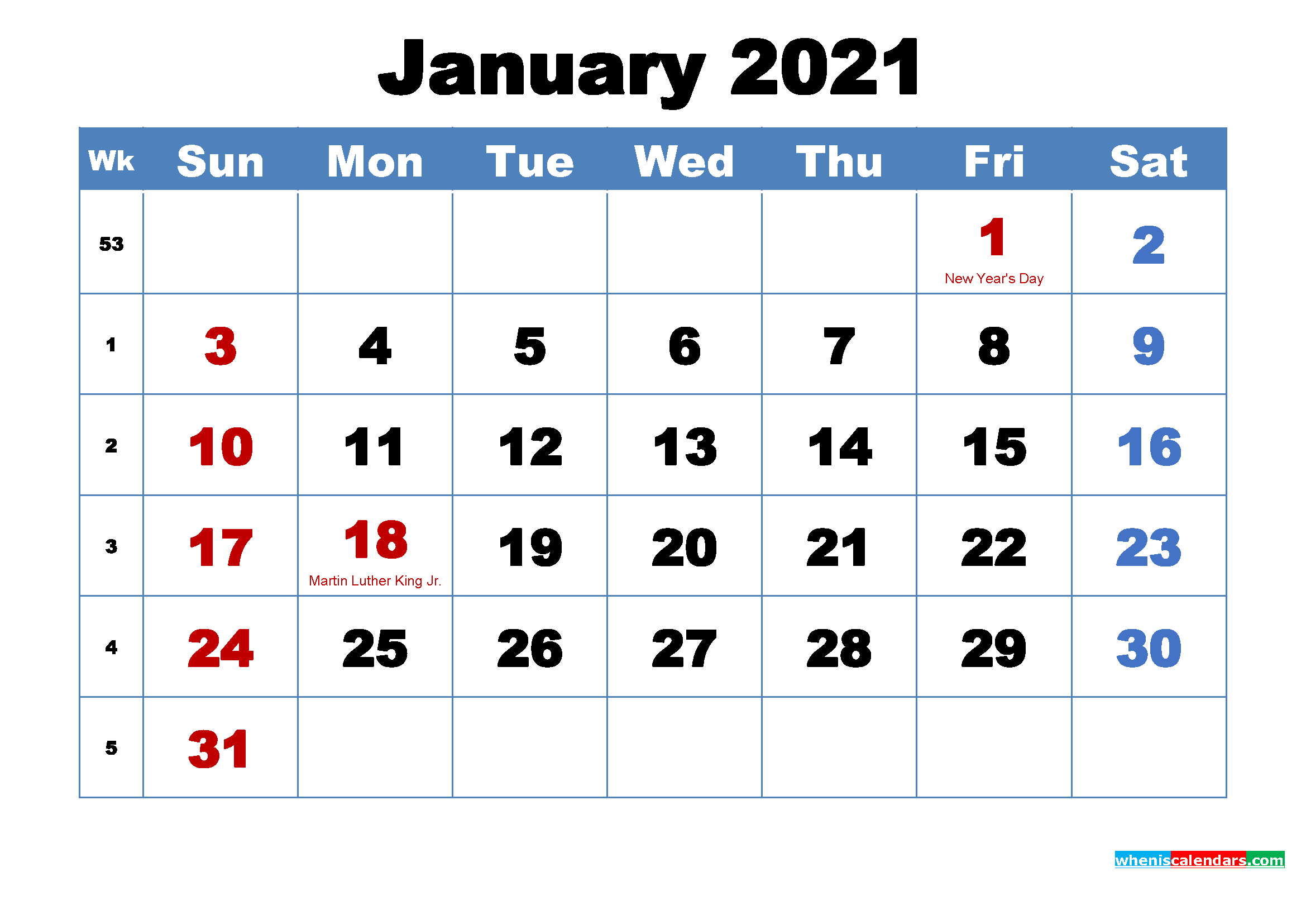 We are proud to offer a variety of seminars and programs that are pertinent to the varied work we do. Free Printable January 2021 Calendar with Holidays - Free ...