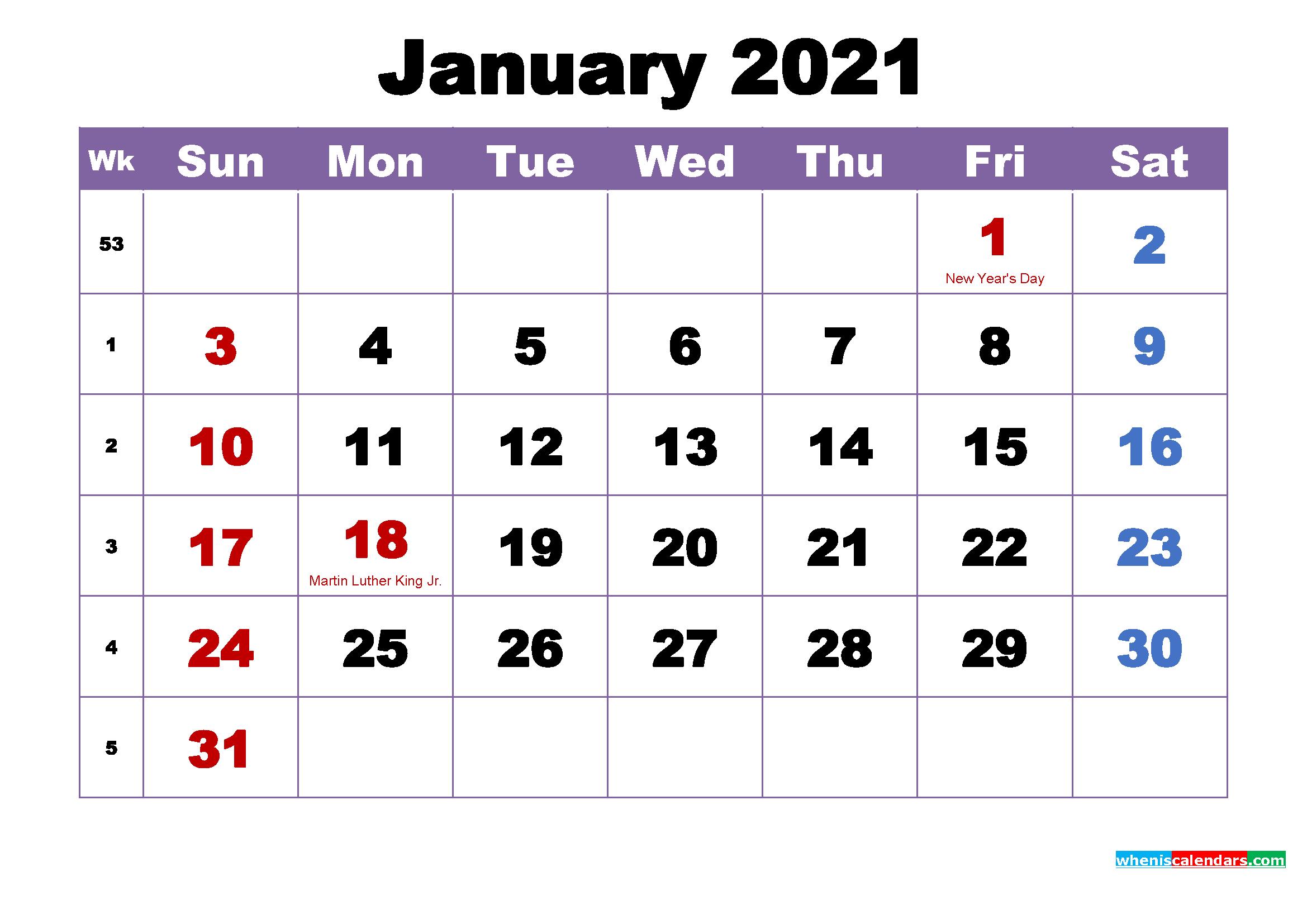 January Printable Calendar With Holidays Word