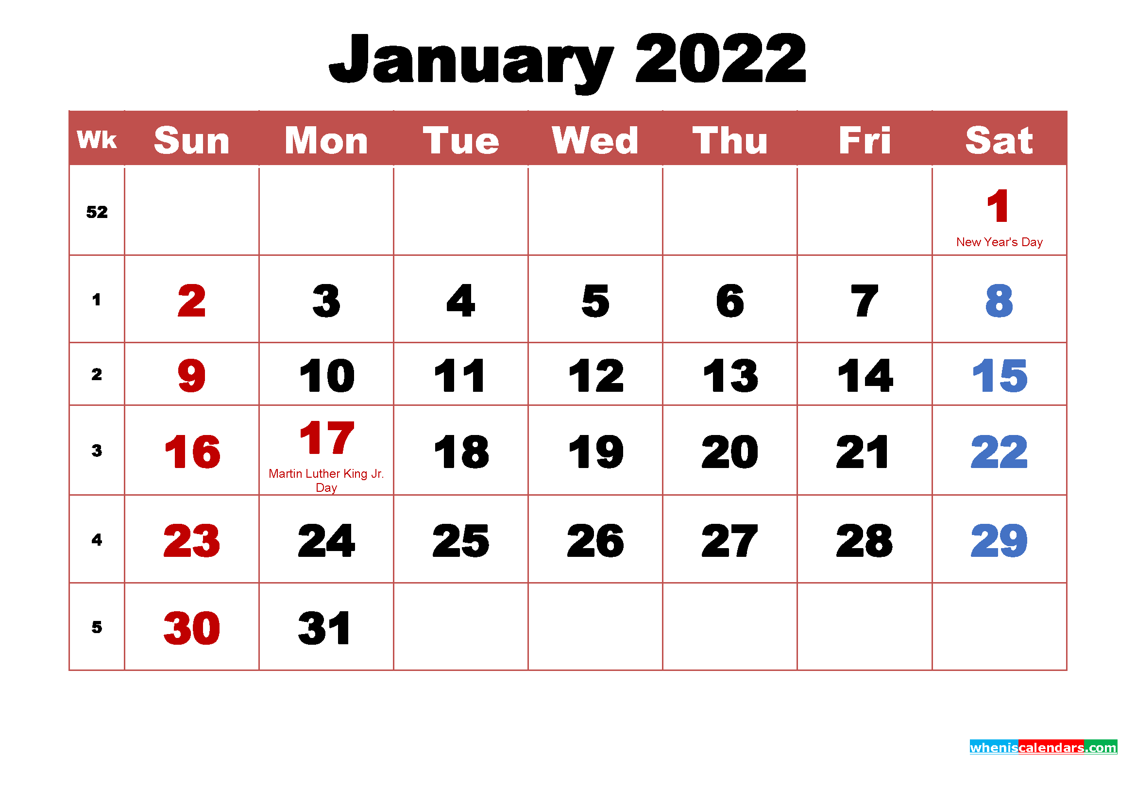 Printable January Calendar With Holidays Word