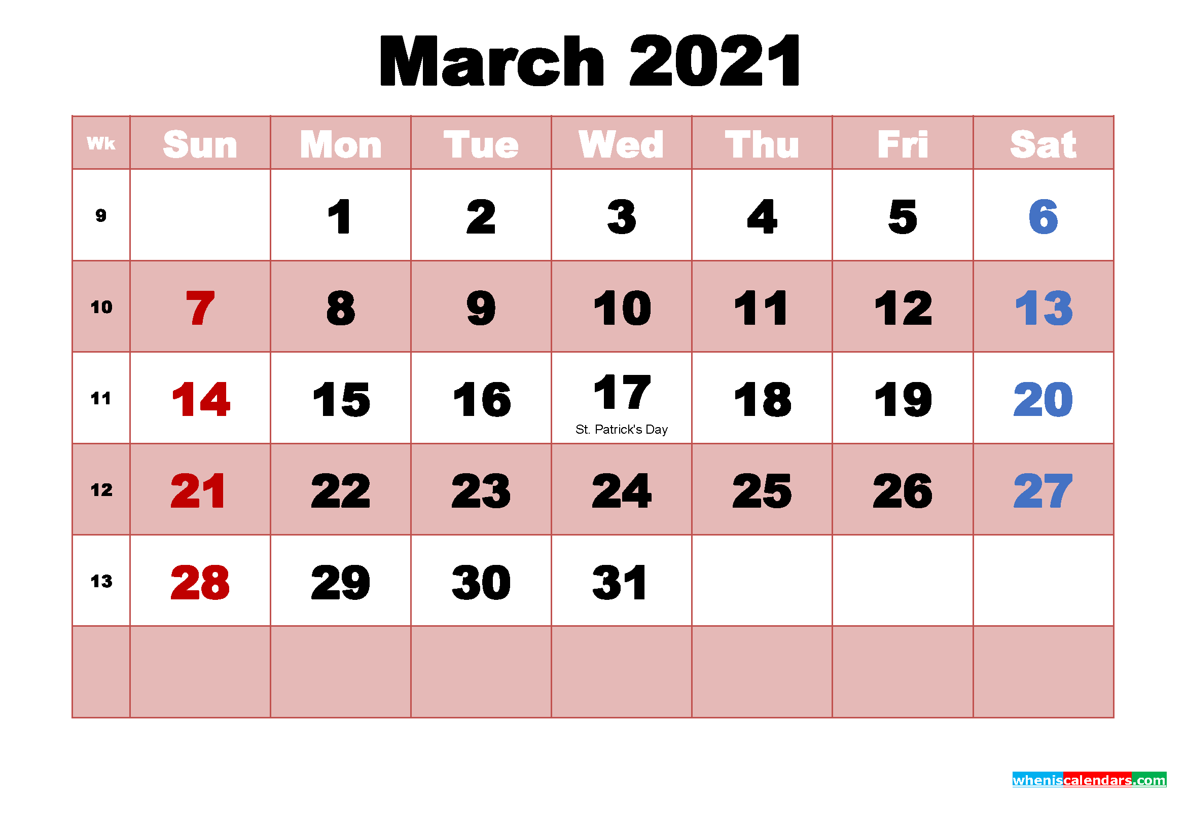 The national calendar is commemorated all over the nation, on every day of the year, in different towns and cities. March 2021 Printable Monthly Calendar with Holidays