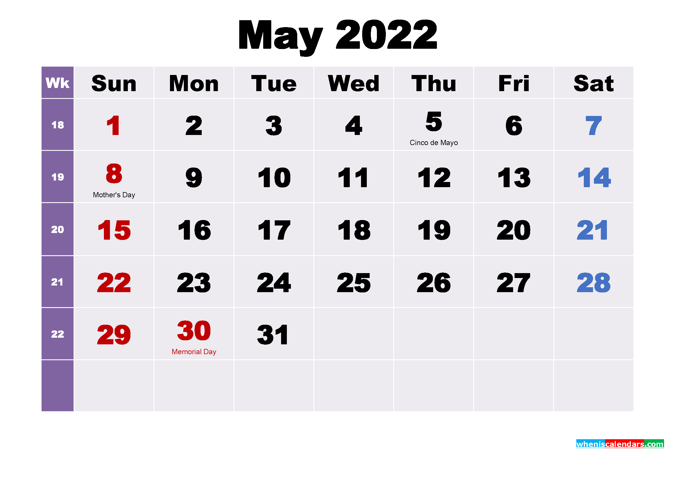 Plan your events by the month by using the 2021 or 2022 blank monthly calendar. Printable May 2022 Calendar with Holidays Word, PDF